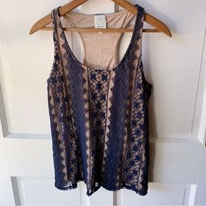 Anthropologie Navy Lace Racerback Tank, Size S